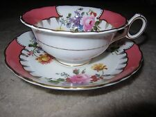 Vintage Royal Cauldon bone china pink floral design tea cup & saucer set England