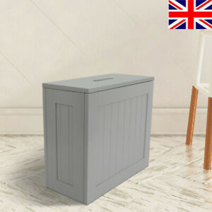 Slimline Wooden Bathroom Cabinet Toilet Roll Cleaning Tidy Box Storage Unit +Lid
