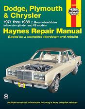 Haynes 30050 Repair Manual Dodge Plymouth & Chrysler 1971 thru 1989