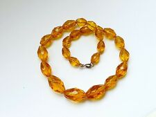 """Glass Faceted Graduated Bead Necklace Vintage Statement 15"""" Czech Amber Clear"""
