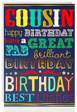 COUSIN BIRTHDAY Greetings Card - Great Gold Foil - Modern Text- ATB5026