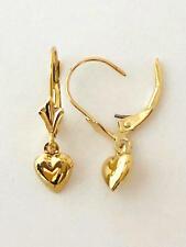 "Earring.W: 6 mm L:7/8"" (22 mm) E1994-65 14K Solid Yellow Gold 3D Heart Dangle"