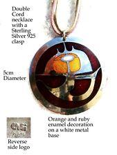 costume jewellery Designer GIGI Enamelled pendant Cord necklace 925 silver ends