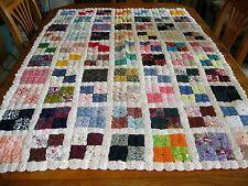 Vintage Yoyo's yo yos hand stitched handmade Quilt top or Tablecloth Unique