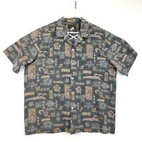 Island Aloha Wear Mens Shirt 2XL Hawaii Turtles Natives Hawaiian Tiki