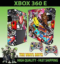XBOX 360 E STICKER BOMB 001 GRAPHICS MASH UP STICKER SKIN & 2 PAD SKIN