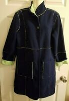 Susan Graver XS Blue Green Coat Fleece Reversible Long Sleeve Button Up Womens