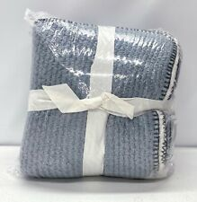 NEW Pottery Barn Thermal Sherpa Back Knit 50x60 Throw Blanket~Heathered Chambray