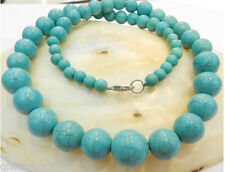 "8-14MM Blue Turkey Turquoise Gems Round Beads Necklace 18""AAA"