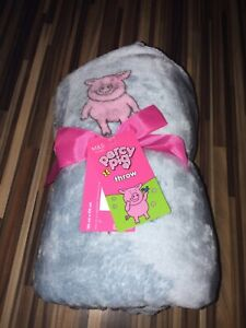 BNWT! RARE Blue&Pink Large M&S/Marks and Spencer Percy Pig Fleece Throw Blanket