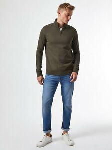 BURTON MENSWEAR LONDON Mens Khaki Half Zip Funnel Neck Sweatshirt Blouse Top