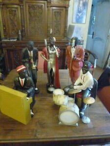 Statues 5 musiciens et chanteurs noirs d'Orchestre de Jazz Vintage 42 cm a 57 cm