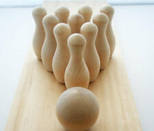 "Miniature Bowling Game- 10 Wooden Pins with 2"" Wood Ball, Kids Activities"