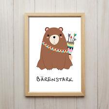 Bärenstark Kunstdruck Für Kinder Poster A4 Bär Spruch Kinderzimmer Dekoration