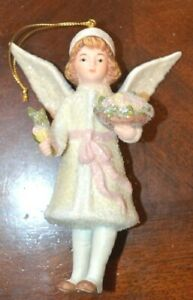Costco Porcelain Victorian Angel with Flowers Christmas Ornament Original Box