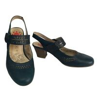 RELIFE By PAVERS Blue Leather Slingback Mid Heel Mary Janes Size 6 UK