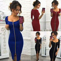 Women's Long Sleeve Bodycon Dress Sexy Mini Short Party Evening Dresses