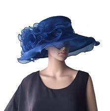 Elegante Cappello da Donna Blu Marina Sposa di Organza Matrimonio Corse  Cavalli 9768b13abe4f