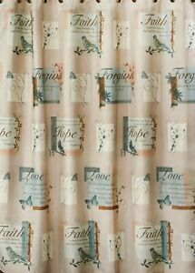 Hopeful Faux Linen Shower Curtain Faith Hope Love Forgive Bible Verse 70 x 72