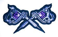 Dual tattoo gun embroidered iron on patch applique biker punk rockabilly - 1