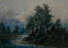 BRITISH SCHOOL ~ VINTAGE WATERCOLOUR PAINTING ~ RIVER SCENE