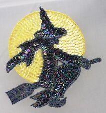 Halloween witch on broom w/ yellow moon  Sequin Applique Pressure Sensitive glue