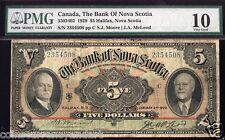 1929 Bank Of  Nova Scotia $5 Graded As  PMG 10 LARGE SIZE BANKNOTE