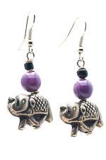 Maisha Beautiful Elephant Silver Color Glass Bead Fair Trade Earrings African