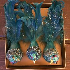New Pier 1 Clip Christmas Tree Ornament Bird Feather Glitter Set Of 3 Turquoise