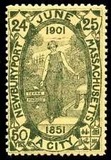 USA Poster Stamp - 1901 Newburyport, Massachusetts 50th Anniversary Green/Yellow
