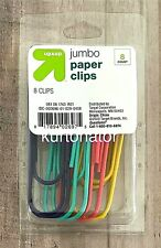 Up Amp Up Assorted Colors Jumbo Paper Clips 8ct Pack New 375 Inch
