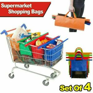 Set of 4 Supermarket Shopping Trolley Bags Large Folding Durable Eco-Friendly