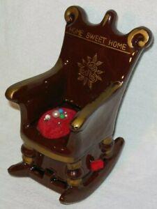 Vintage Pin Cushion & Tape Measure Home Sweet Home Rocking Chair Enesco Japan