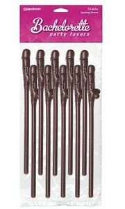 Chocolate Dicky Sipping Straws 10 pk Brown Bachelorette Party Ladies Night Favor