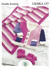 VAT Free KNITTING PATTERN ONLY DK Jacket Pram Rug Blanket Booties UKHKA157