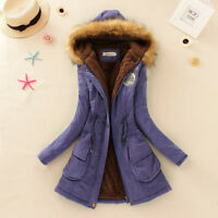Women Winter Warm Fleece Lined Jacket Cotton Coat Fur Collar Hooded Long Parka