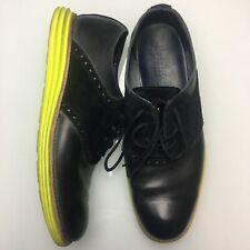 Cole Haan Lunargrand Black Leather Neon Volt Suede Saddle Shoes Mens Size 8