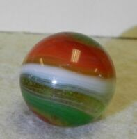 9714m Large .73 Inches Vintage Akro Agate Red and Green Popeye Marble