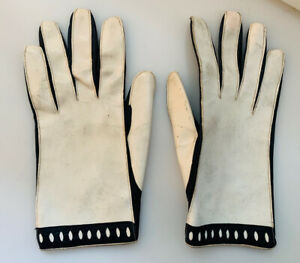 Pierre Cardin Vintage Black Leather White Patent Leather Driving Gloves Size 7