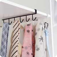 Iron 6 Hooks Cup Holder Hang Kitchen Cabinet Under Shelf Storage Rack Organizer