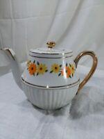 Vintage ceramic tea pot Retro 1970s flower power iridescent glass w/gold trim