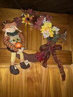 AGD Fall Decor Harvest Plaid Small Wood Floral Flower Display