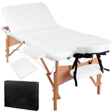 Portable Wooden 3 Fold Massage Table Chair Bed White 70 cm Masseuse Furniture