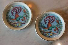Vintage Mid Century HYALYN Rooster Coasters Ceramic PAIR! Colorful & Fun! RARE!