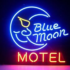 "New Blue Moon Motel Beer Real Glass Neon Light Sign 17""x14"" Fast Ship"