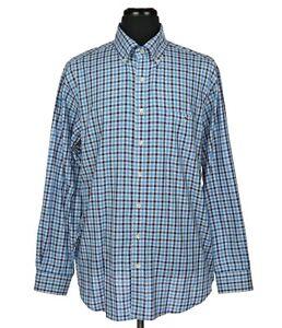 Vineyard Vines Slim Fit Tucker Shirt Blue & Gray Checks Men's Size XL Whale Logo