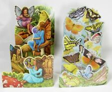 Lot 2 Vintage Fairies & Butterflies Portal Fold Out Birthday Greeting Cards 1988