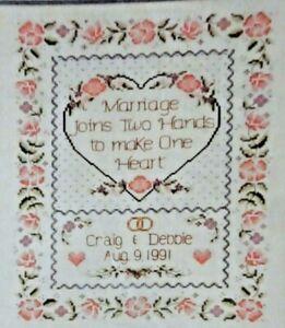 "Dimensions Cross Stitch Instruction 13518 "" One Heart Wedding Record ""  14""x 11"""