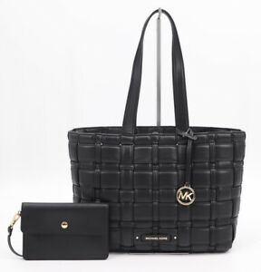 NWT MICHAEL MICHAEL KORS IVY EAST WEST WOVEN VEGAN LEATHER TOTE AND POUCH BLACK