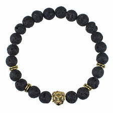 BRACELET BANGLE NATURAL VOLCANIC LAVA BEADS & 18K G/F GOLD LIONS HEAD DESIGN